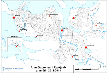 kort Aramotabrennur 2012